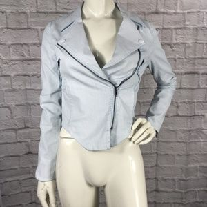 Funktional Coated Fitted Moto Jacket Asymmetrical